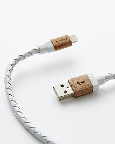 [LE CORD] USB charge white leathe & wood cable&nbsp