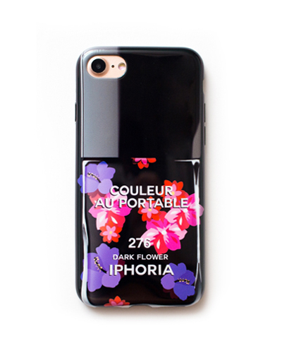[IPHORIA] nail polish yellow dark flower caseiPhone 8/7