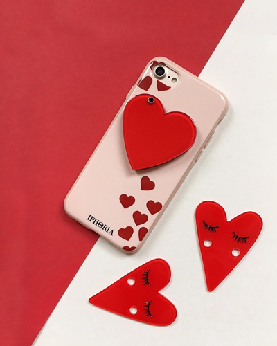 [IPHORIA] red hearts mirror caseiPhone 8/7