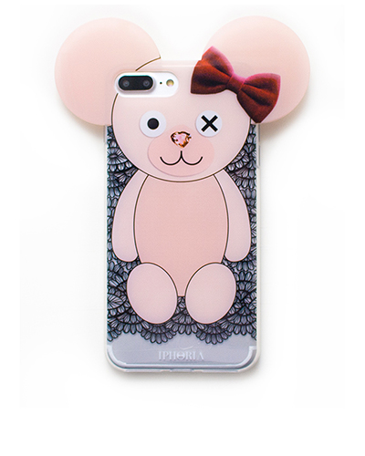 [IPHORIA] teddy lace bow case iPhone 7+